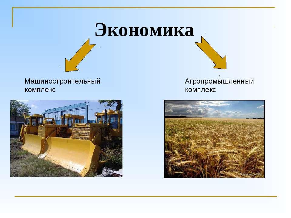 Экономика Машиностроительный комплекс Агропромышленный комплекс
