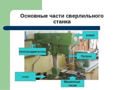 Основные части сверлильного станка стол электродвигатель Машинные тиски кожух...