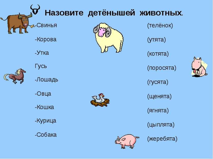-Свинья -Корова -Утка Гусь -Лошадь -Овца -Кошка -Курица -Собака Назовите детё...
