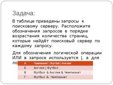 Задача: В таблице приведены запросы к поисковому серверу. Расположите обознач...