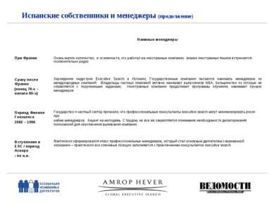 Испанские собственники и менеджеры (продолжение) Наемные менеджеры При Франко...