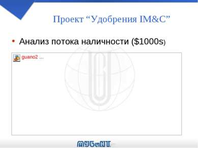 """Проект """"Удобрения IM&C"""" Анализ потока наличности ($1000s)"""