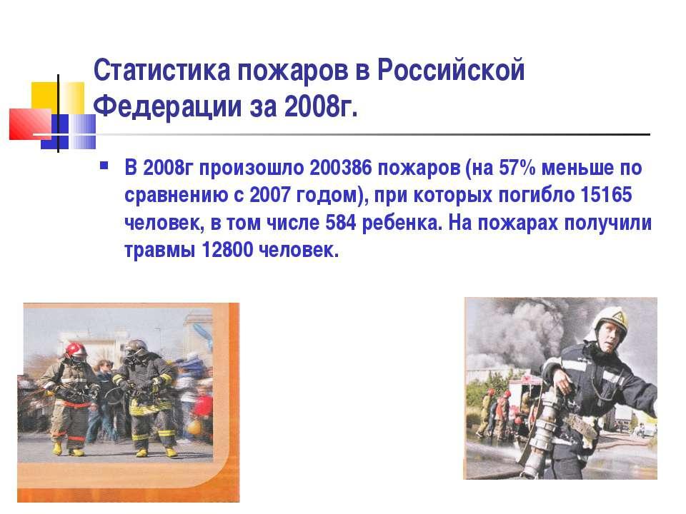 Статистика пожаров в Российской Федерации за 2008г. В 2008г произошло 200386 ...