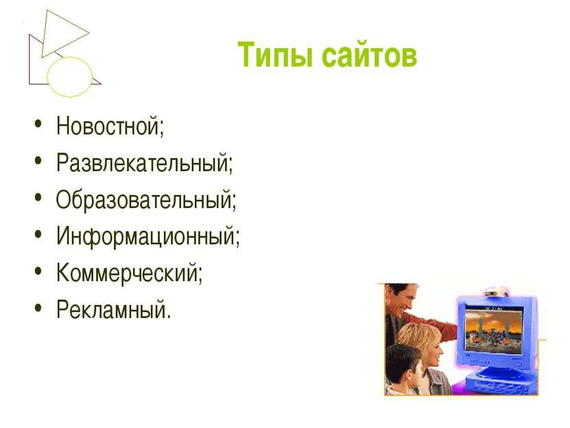 Типы сайтов Новостной; Развлекательный; Образовательный; Информационный; Комм...
