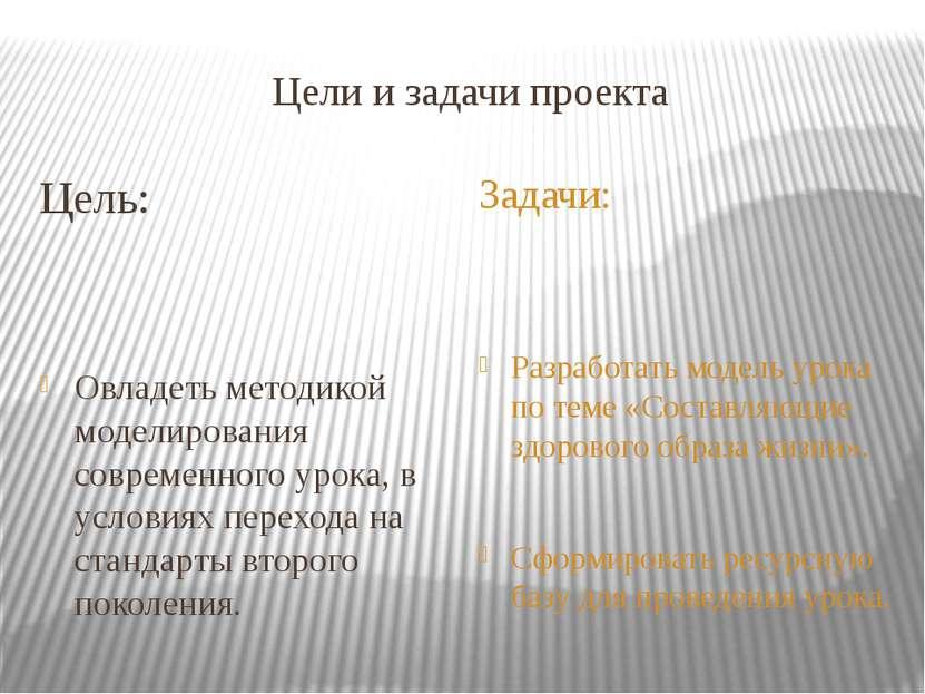 Цели и задачи проекта Цель: Овладеть методикой моделирования современного уро...