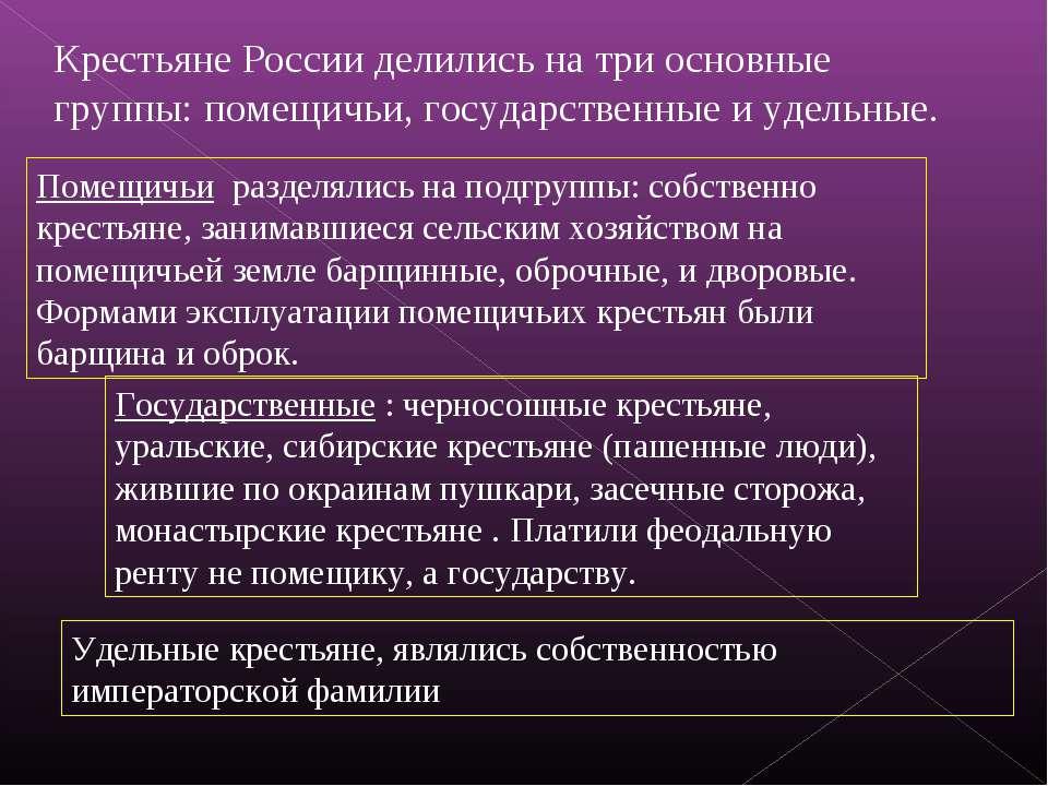 Крестьяне России делились на три основные группы: помещичьи, государственные ...