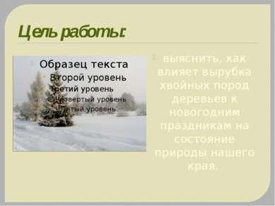 Цель работы: выяснить, как влияет вырубка хвойных пород деревьев к новогодним...