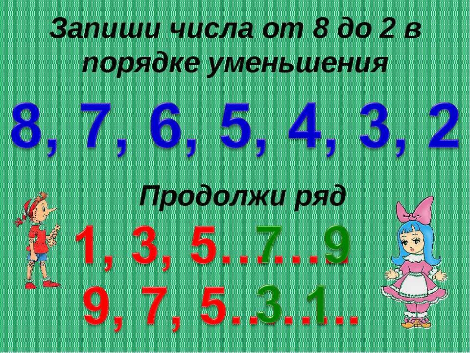 Запиши числа от 8 до 2 в порядке уменьшения Продолжи ряд
