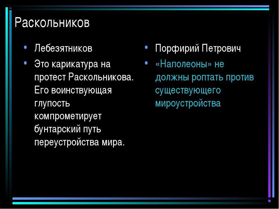 Раскольников Лебезятников Это карикатура на протест Раскольникова. Его воинст...