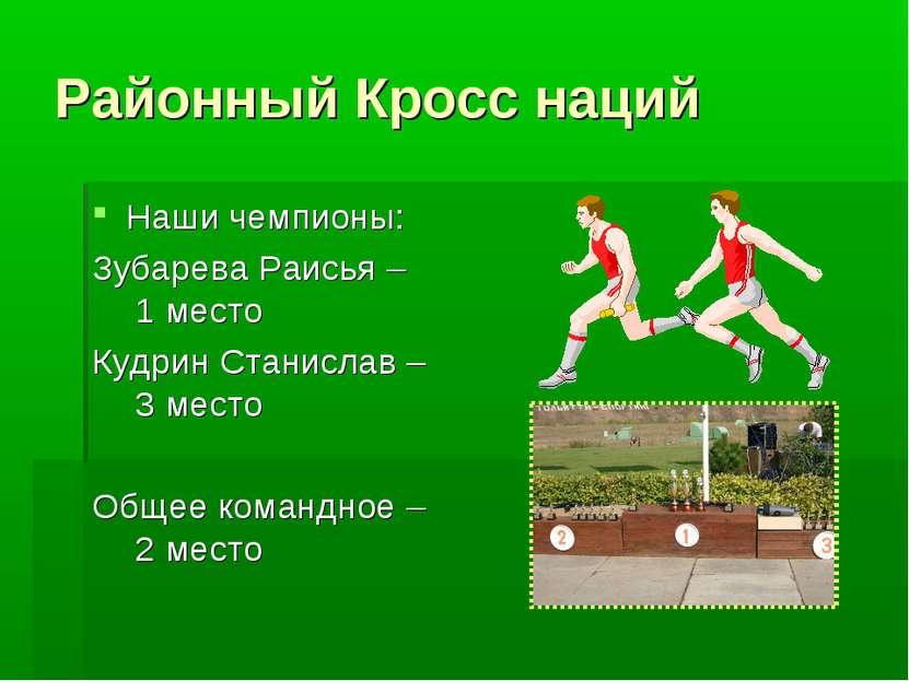 Районный Кросс наций Наши чемпионы: Зубарева Раисья – 1 место Кудрин Станисла...