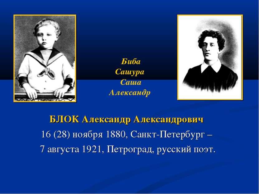 БЛОК Александр Александрович 16 (28) ноября 1880, Санкт-Петербург – 7 августа...