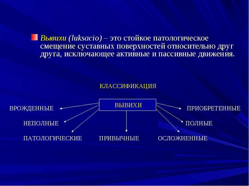 Вывихи (luksacio) – это стойкое патологическое смещение суставных поверхносте...