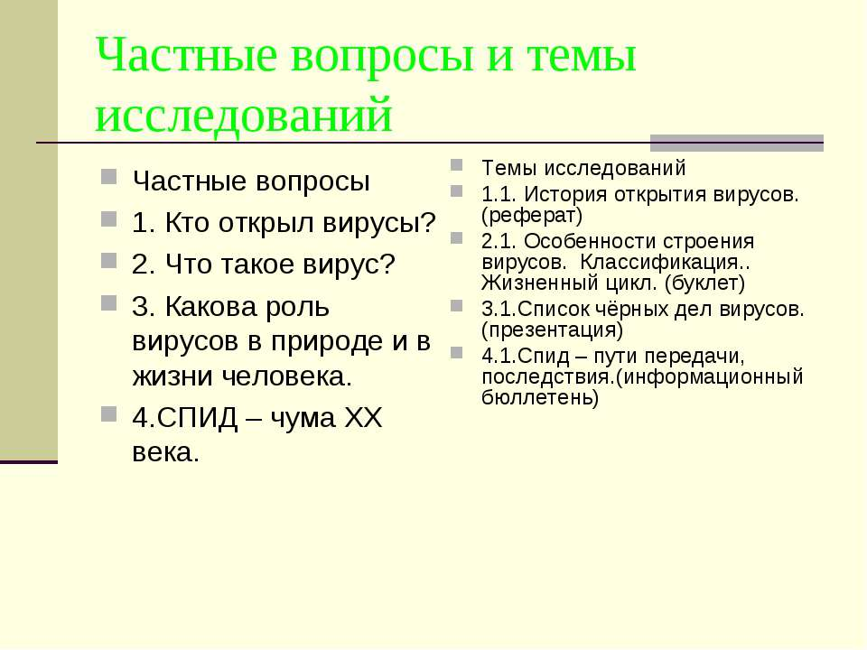 Частные вопросы и темы исследований Частные вопросы 1. Кто открыл вирусы? 2. ...