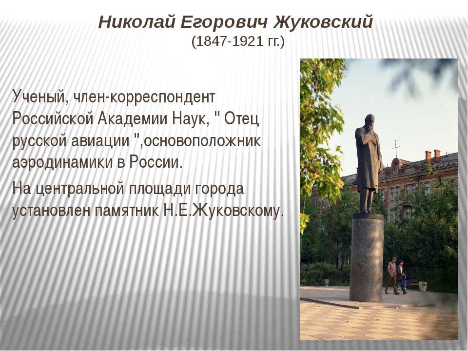 Николай Егорович Жуковский (1847-1921 гг.) Ученый, член-корреспондент Российс...