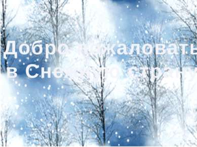 Добро пожаловать в Снежную страну!