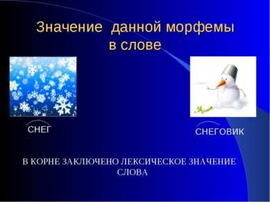 Значение данной морфемы в слове В КОРНЕ ЗАКЛЮЧЕНО ЛЕКСИЧЕСКОЕ ЗНАЧЕНИЕ СЛОВА ...