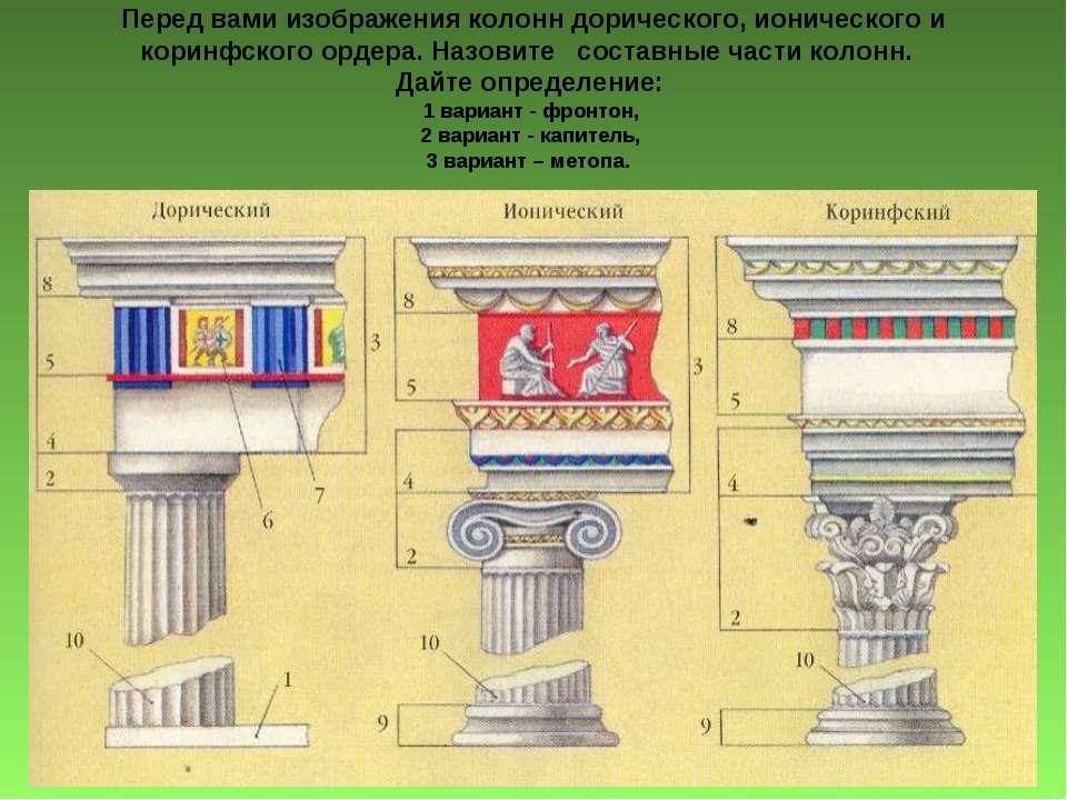 Перед вами изображения колонн дорического, ионического и коринфского ордера. ...