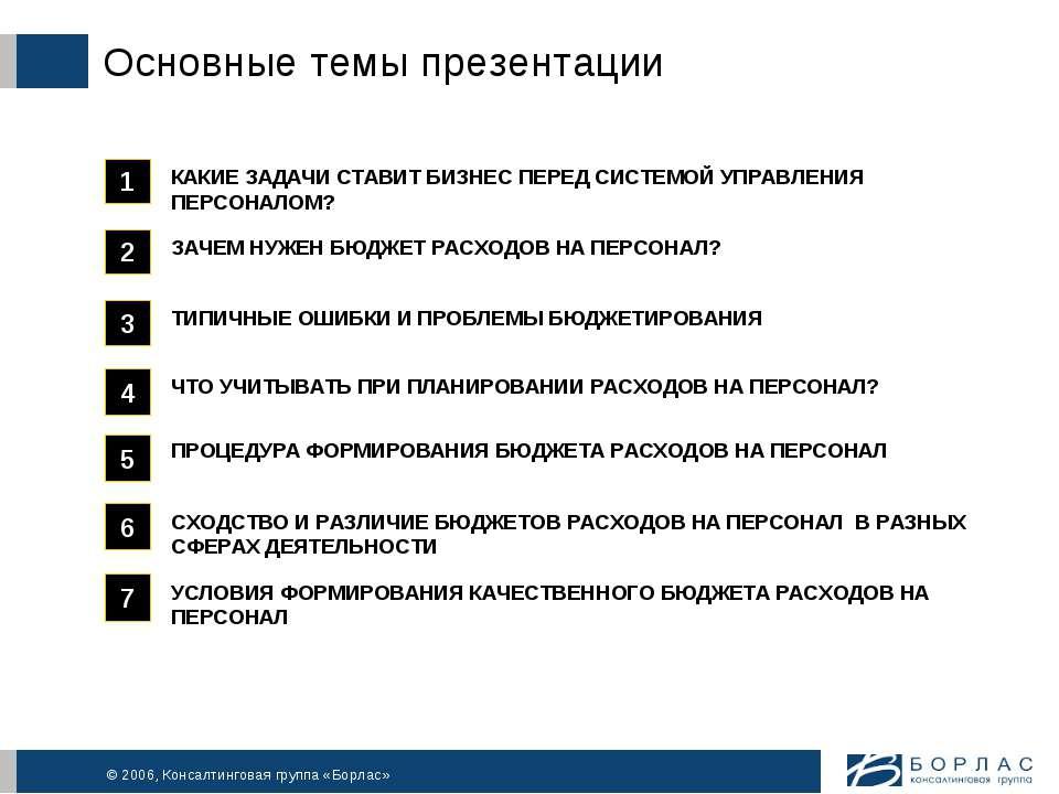 Основные темы презентации © 2006, Консалтинговая группа «Борлас»