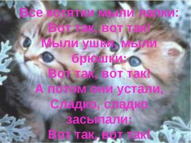 Все котятки мыли лапки: Вот так, вот так! Мыли ушки, мыли брюшки: Вот так, во...