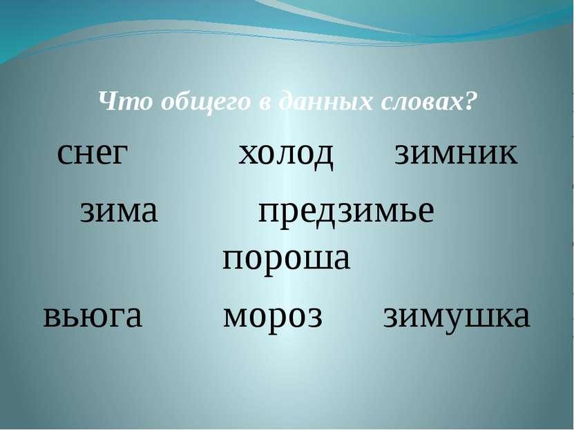 Что общего в данных словах? снег холод зимник зима предзимье пороша вьюга мор...
