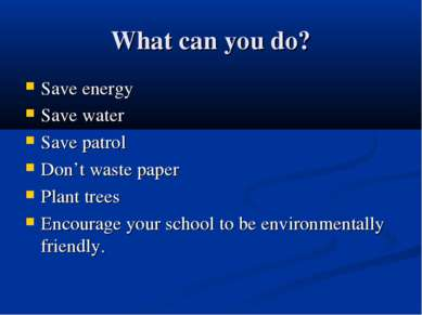 What can you do? Save energy Save water Save patrol Don't waste paper Plant t...