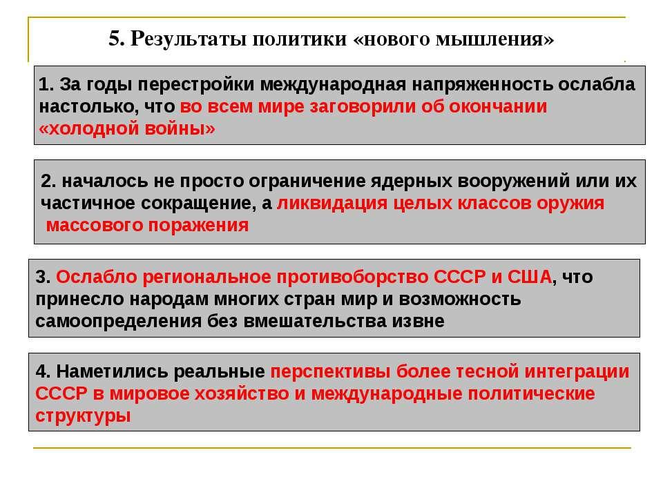 5. Результаты политики «нового мышления» 1. За годы перестройки международная...