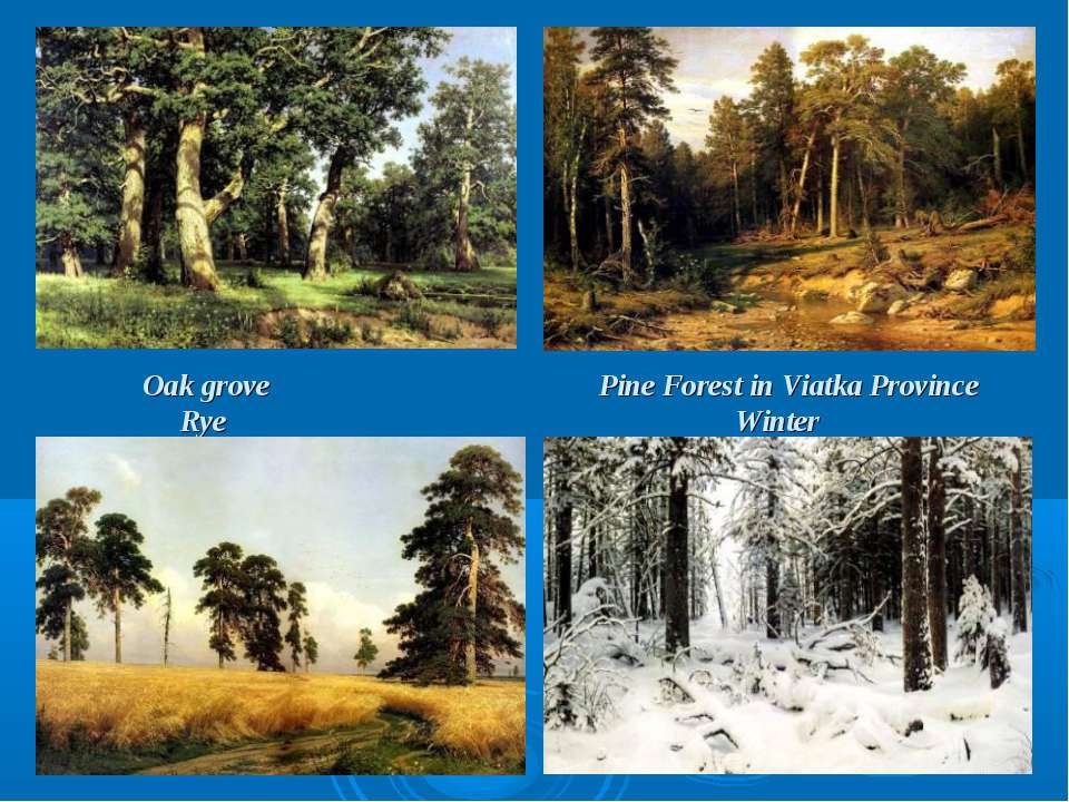 Oak grove Pine Forest in Viatka Province Rye Winter
