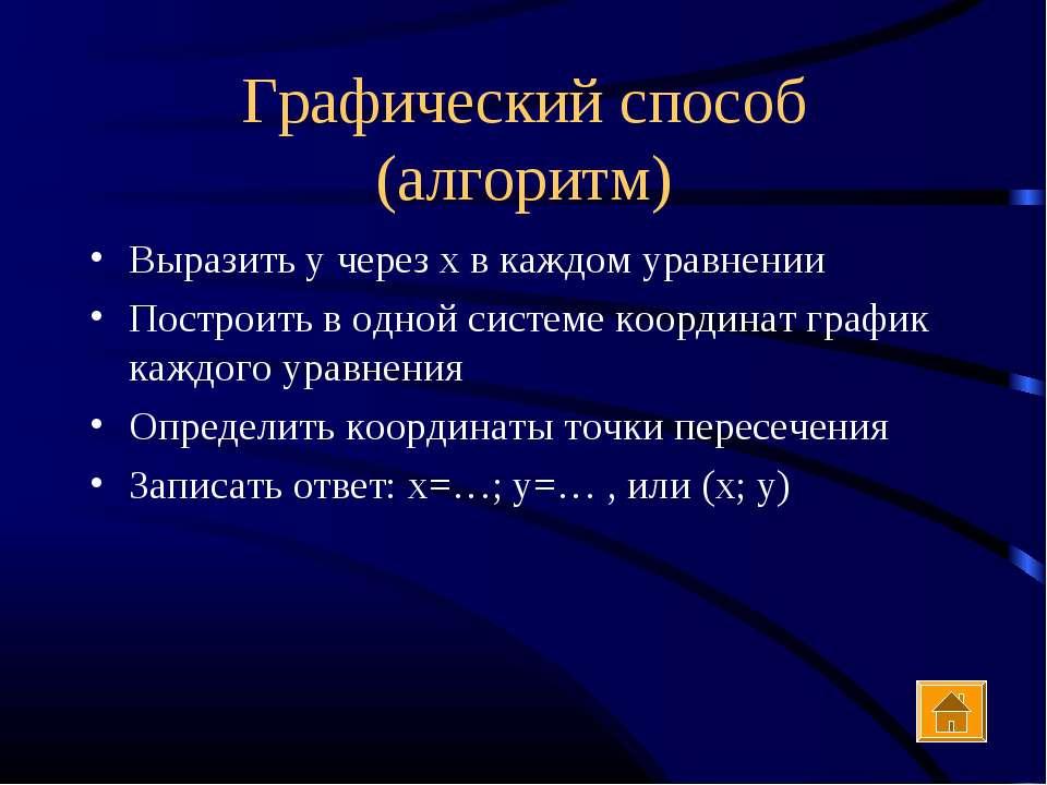 Графический способ (алгоритм) Выразить у через х в каждом уравнении Построить...