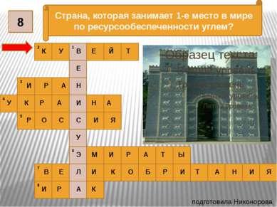 подготовила Никонорова О.В. 1 2 3 4 5 6 7 8 Страна, которая занимает 1-е мест...