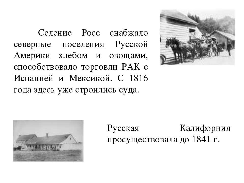 Селение Росс снабжало северные поселения Русской Америки хлебом и овощами, сп...