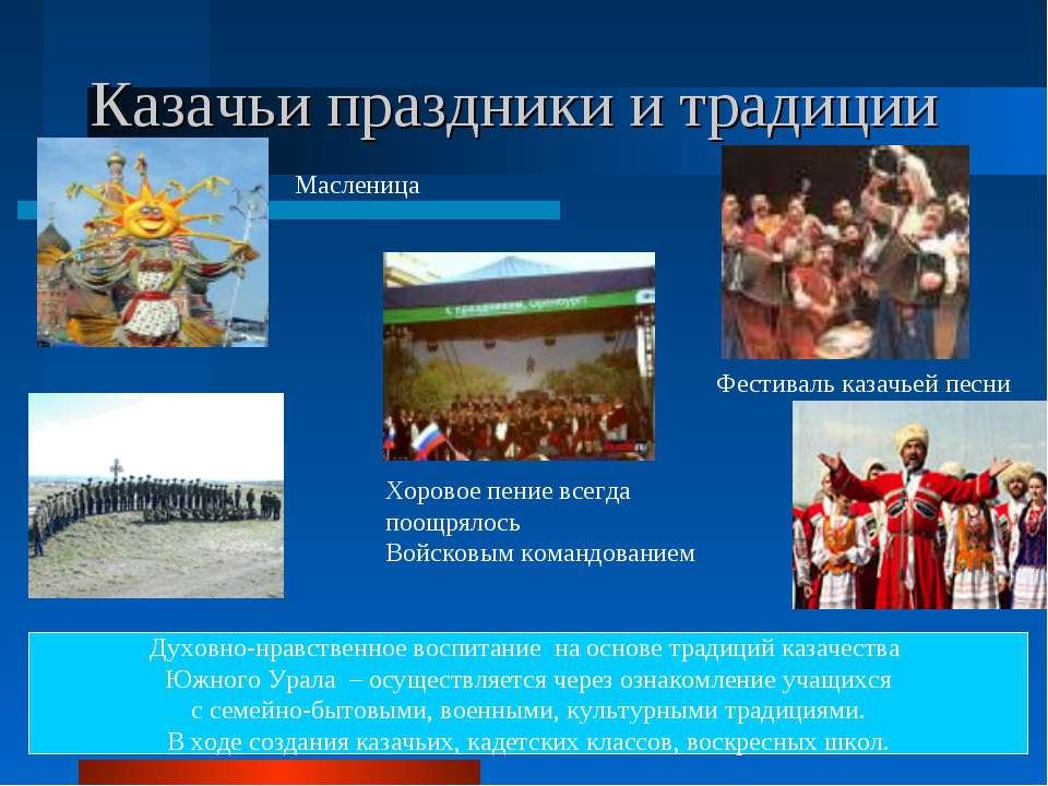 Казачьи праздники и традиции Масленица Хоровое пение всегда поощрялось Войско...