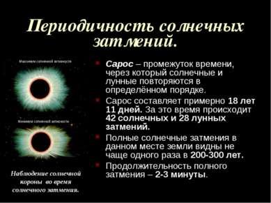 Периодичность солнечных затмений. Сарос – промежуток времени, через который с...