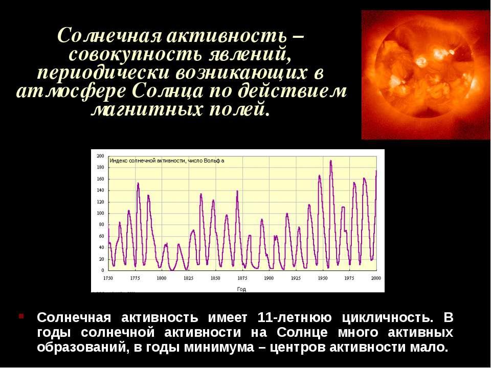 Солнечная активность – совокупность явлений, периодически возникающих в атмос...