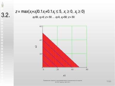 */23 3.2. z = max(x1+x2|0.1x1+0.1x2 5, x1 0, x2 0) x1=50, x2 =0; z = 50 … x1=...