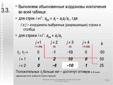 */23 3.3. Выполняем обыкновенные жордановы исключения во всей таблице: для ст...