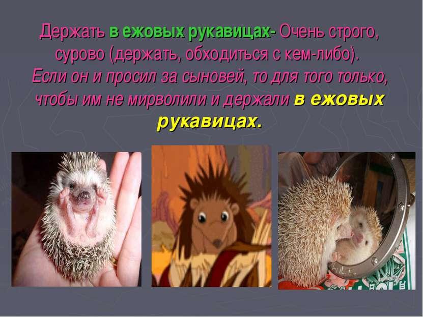 Держать в ежовых рукавицах- Очень строго, сурово (держать, обходиться с кем-л...