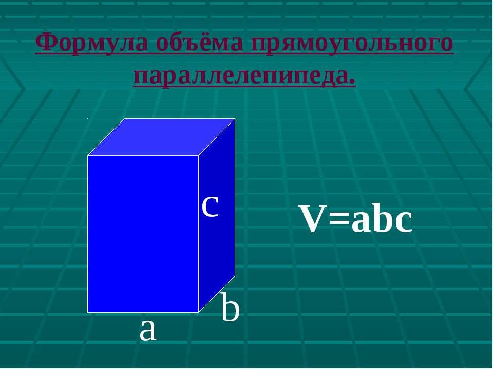 с а b V=abc Формула объёма прямоугольного параллелепипеда.