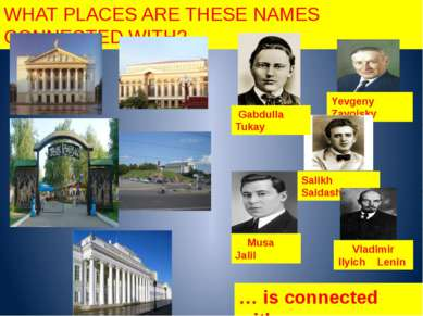 WHAT PLACES ARE THESE NAMES CONNECTED WITH? … is connected with… Yevgeny Zavo...