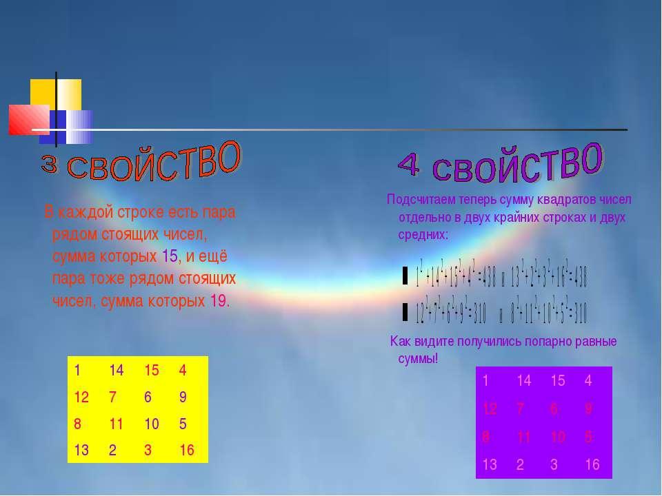 В каждой строке есть пара рядом стоящих чисел, сумма которых 15, и ещё пара т...