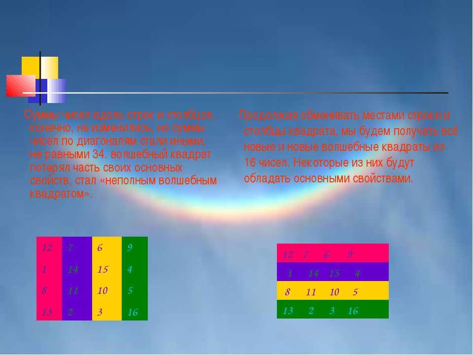 Суммы чисел вдоль строк и столбцов, конечно, не изменились, но суммы чисел по...
