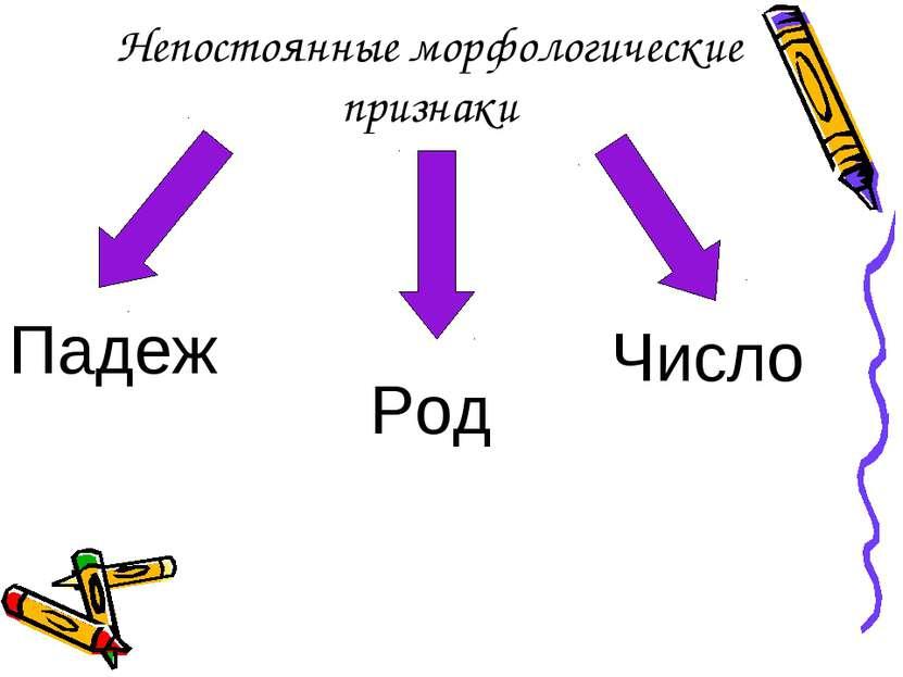 Непостоянные морфологические признаки Падеж Число Род