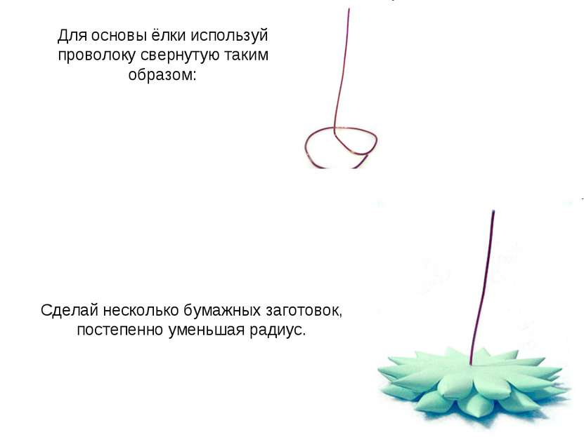 Для основы ёлки используй проволоку свернутую таким образом: Сделай несколько...