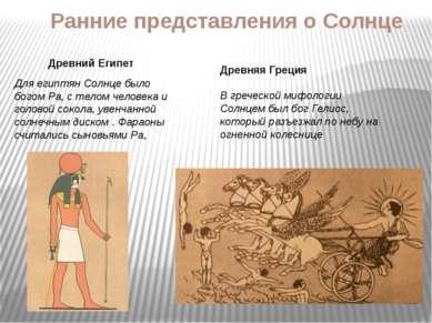 Ранние представления о Солнце Древний Египет Для египтян Солнце было богом Ра...