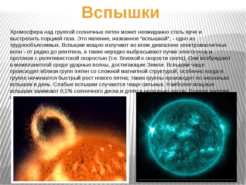 Вспышки Хромосфера над группой солнечных пятен может неожиданно стать ярче и ...