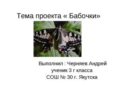 Тема проекта « Бабочки» Выполнил : Черняев Андрей ученик 3 г класса СОШ № 30 ...