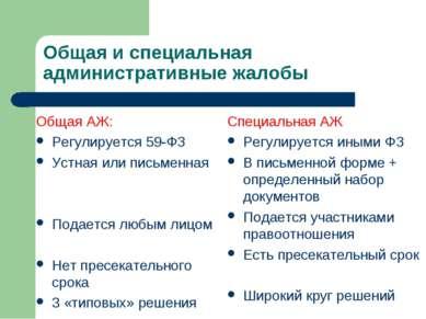 Общая и специальная административные жалобы Общая АЖ: Регулируется 59-ФЗ Устн...