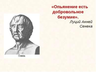 «Опьянение есть добровольное безумие». Луций Анней Сенека Данилова О.А. , пед...