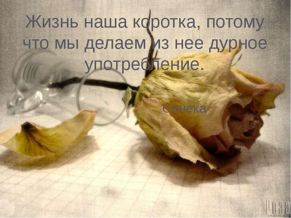 Жизнь наша коротка, потому что мы делаем из нее дурное употребление. Сенека Д...