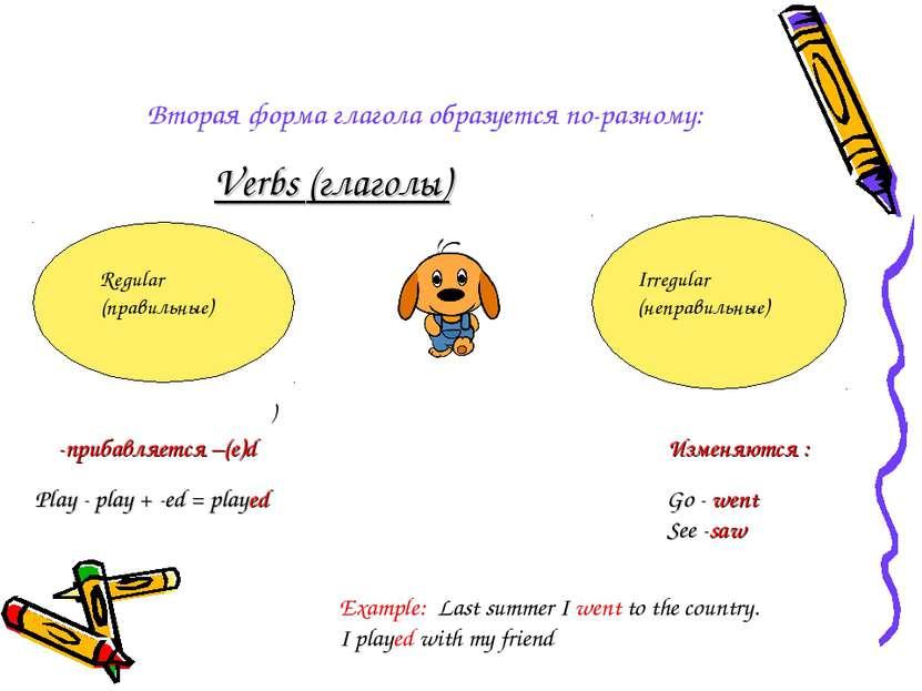 Вторая форма глагола образуется по-разному: Verbs (глаголы) ) Regular (правил...