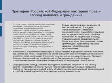 Президент Российской Федерации как гарант прав и свобод человека и гражданина...